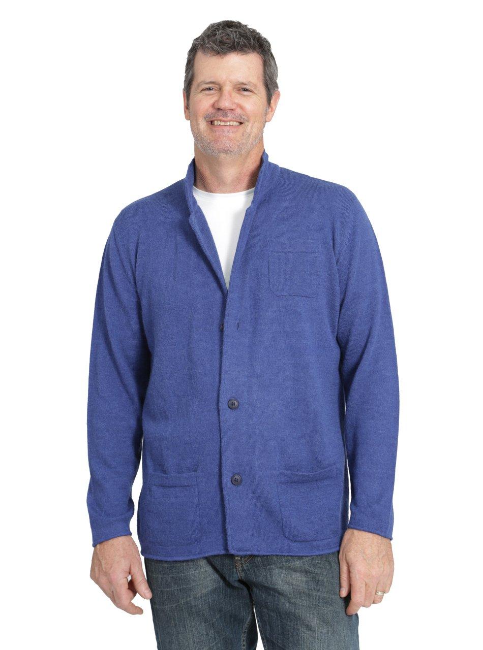 Incredible Natural Creations from Alpaca - INCA Brands Men's The Batted Blazer Cardigan Alpaca Sweater (Blue, XLarge)