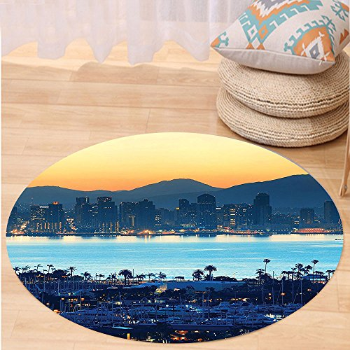 VROSELV Custom carpetApartment Decor Collection San Diego At Sunrise In Harbor Waterfront Cityscape Business District Scenic View Bedroom Living Room Dorm Round 47 inches (San Repair Upholstery Diego Furniture)
