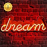 Neon Signs, Dream Neon Light, Neon Light Sign Led Neon Lamp, Wall Sign Art Decorative Signs Lights, Neon Words for Home Bedroom Room Decor Bar Beer Office for Party Holiday Wedding Decoration Sign