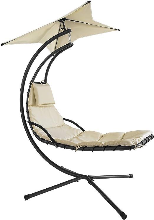 SoBuy Hamaca Beige Tumbona Colgante con toldo sillón balancín jardín Beige OGS39-MI: Amazon.es: Jardín