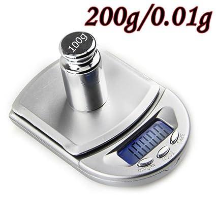 Diadia - Mini báscula digital de bolsillo de alta precisión, joyería de diamante de oro con calibración de monedas, balance de peso, portátil, ...