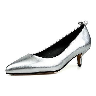 Damen Ziehen auf Niedriger Absatz Eingelegt Spitz Zehe Pumps Schuhe, Silber, 37 AllhqFashion