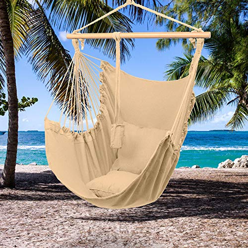 ciallyYANG Hammock Chair Swing Increase Lengthen Cushion to Hang Chair with Pillows Swing Chair Prefect for Indoor Outdoor, US Stock (Coffee)