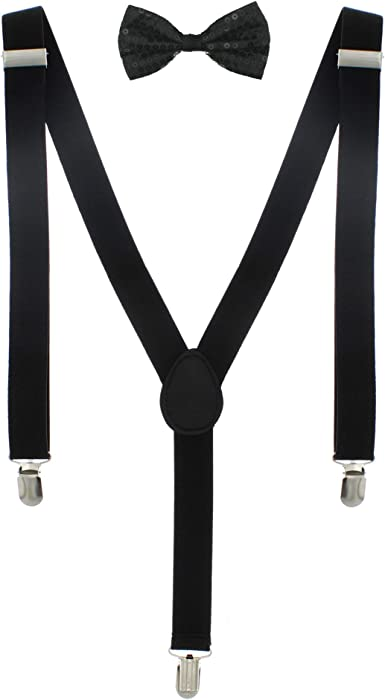 Men/'s Matching Suspenders Braces /& Pre-Tied Bow Tie Combo Sets Fancy Costume