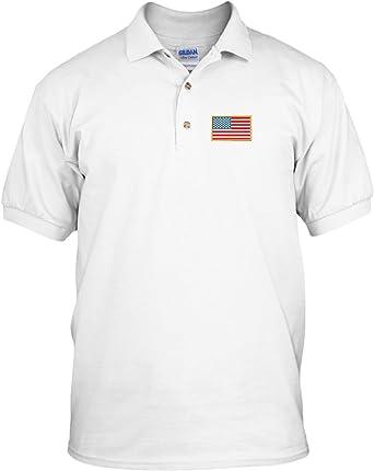 Speedy Pros Bandera Americana país bordado Polo de manga corta de algodón camiseta - Blanco -: Amazon.es: Ropa y accesorios
