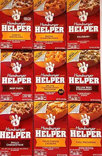 Hamburger Helper Variety Pack of 9 - Cheesy Enchilada,Salisbury,Philly Cheesesteak,Four Cheese Lasagna,Chili Macaroni,Bacon Cheeseburger,Deluxe Beef Stroganoff,Beef Pasta,Deluxe Cheeseburger Macaroni