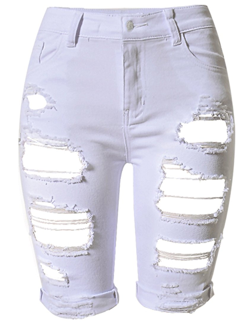 OLRAIN Womens High Waist Ripped Hole Washed Distressed Short Jeans 6 White