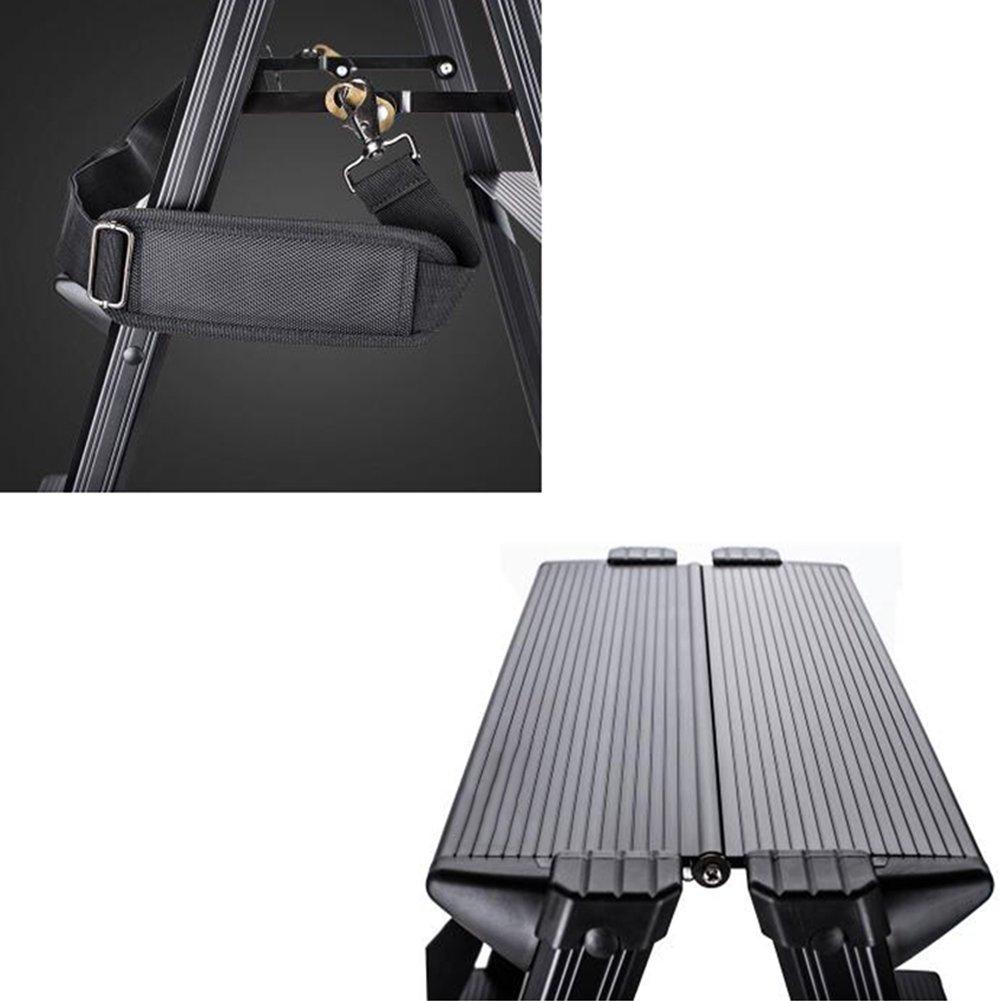 CAIJUN Pliable Escalier Tabouret Multifonction Portable 3 /Étapes /Élargir /Épaissir Avec Sangle Tabouret Alliage Daluminium Noir Hauteur 80cm Capacit/é De Charge 150 Kg Marchepieds escamotables