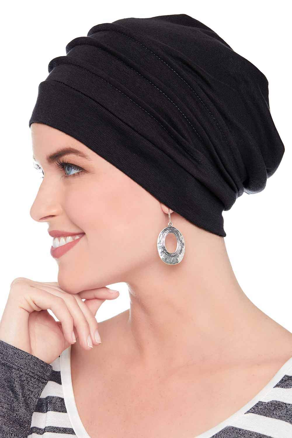 Headcovers Unlimited Slouchy Snood-Caps for Women with Chemo Cancer Hair Loss Black by Headcovers Unlimited