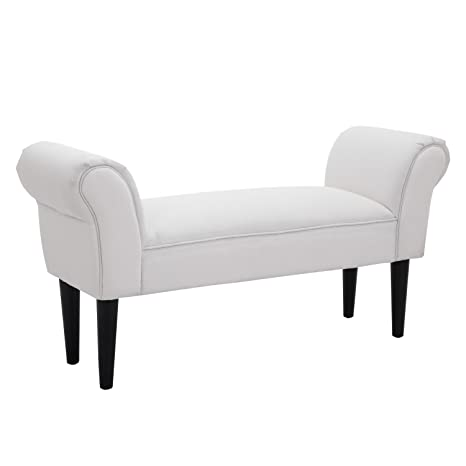 HOMCOM Bed End Side Chaise Lounge Sofa Window Seat Arm Bench Wooden Leg  Fabric Cover (White)