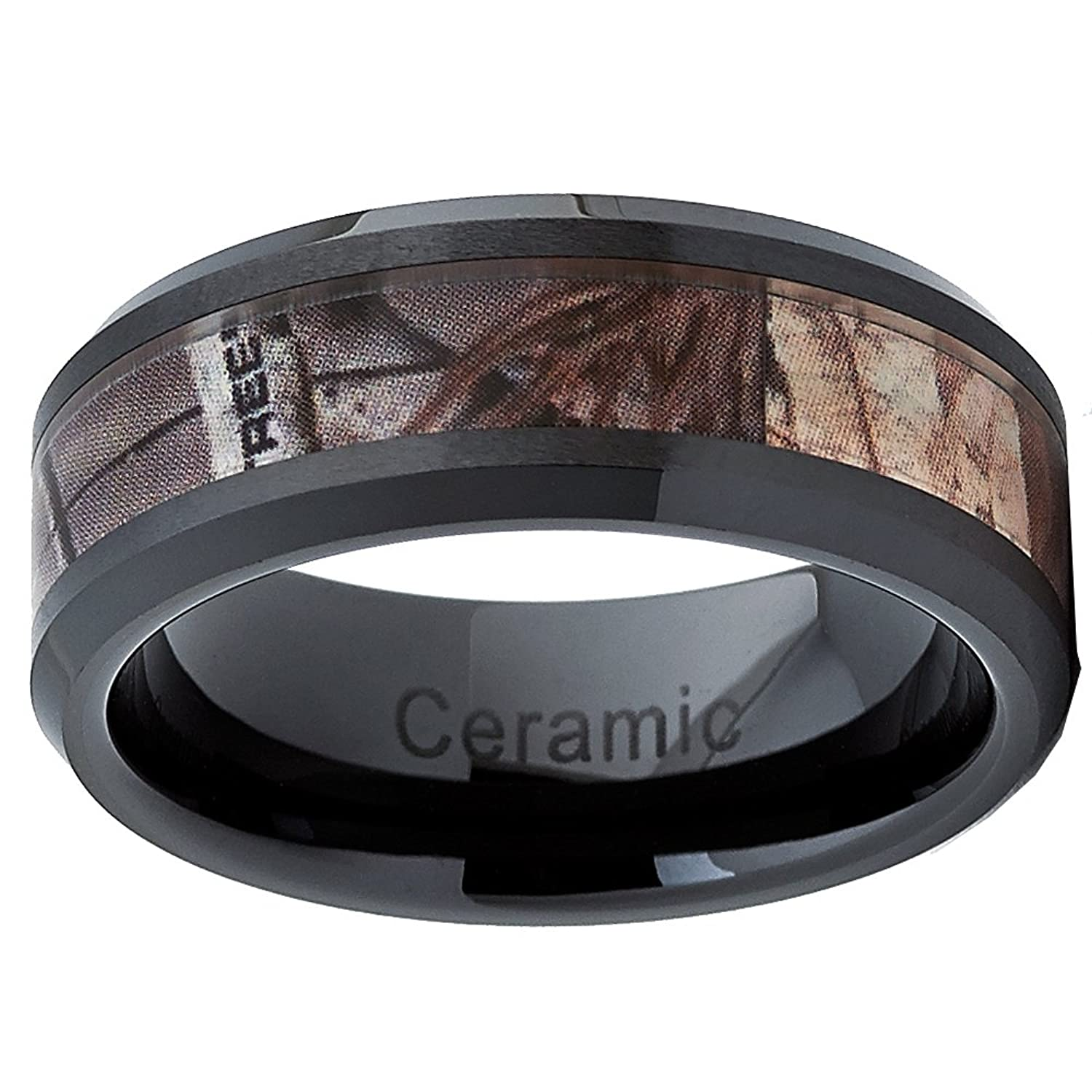 Black Ceramic Men s Hunting Camo Ring fort Fit Band 8mm Sizes