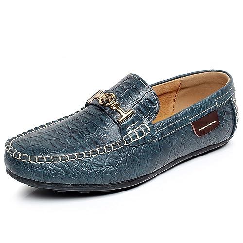 Jamron Hombres Gama Alta Croc Estampado Cuero Hebilla Plano Mocasines Elegante Conducción Zapatos del Barco: Amazon.es: Zapatos y complementos