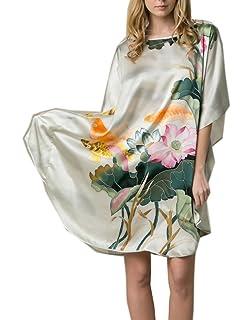 Prettystern Damen kurz Seide Kimono Wickel-kleid Morgenmantel Robe Aisa Kunst