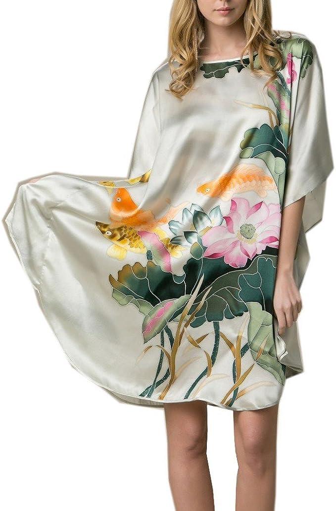prettystern Bata de Kimono de Seda de Kimono para Mujeres hasta el Suelo Estilo