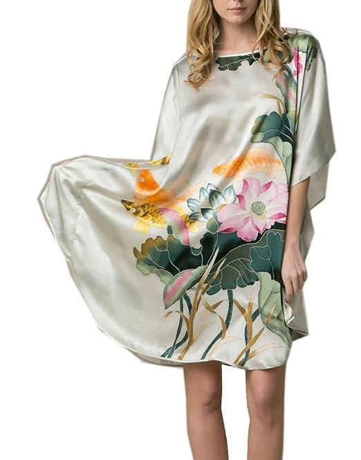 bbaccb8b3d Prettystern - 100% Seta Kimono Pigiama Camicia Notte Lingerie Dipinto Mano  Ybs011 Luce Verde di