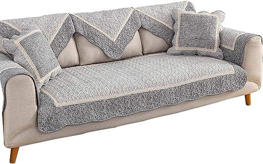 KSWD Fundas para sofás, Antideslizante Funda de Sofá Algodón Acolchado Cubre para Sofá Grueso Resistente al Desgaste Borde de Encaje Gris,90x210cm: Amazon.es: Hogar