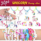Aitey Unicorn Party Supplies, Unicorn Bracelets, Necklaces, Keychains and Rings, Rainbow Unicorn Novelty Toys Birthday Party Favors Set for Kids (30 Pack)