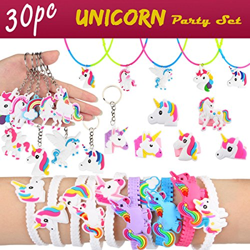 Aitey Unicorn Party Supplies, Unicorn Bracelets, Necklaces, Keychains and Rings, Rainbow Unicorn Novelty Toys Birthday Party Favors Set Easter Gifts for Kids (30 Pack)