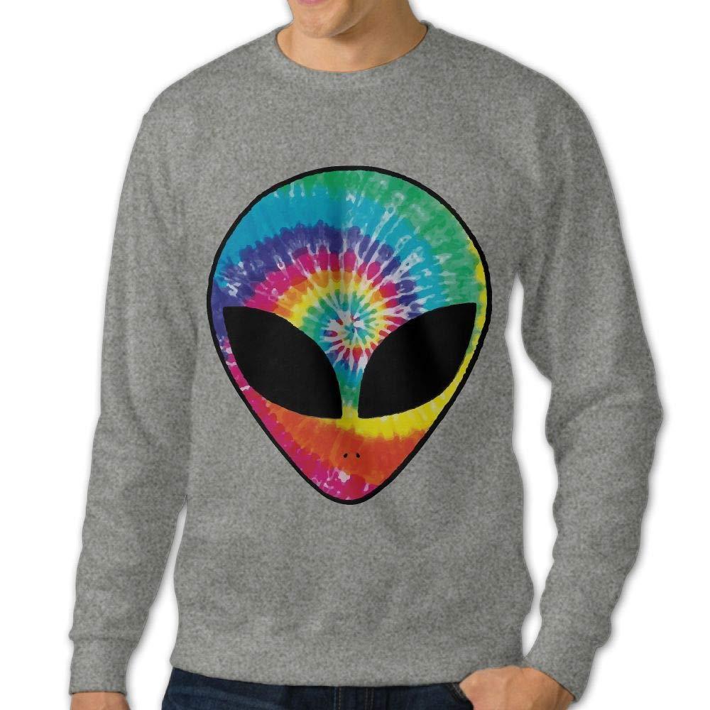 Rainbow Tie Dye Alien Head Adult Mens Sports Long Sleeve Hoody T Shirts