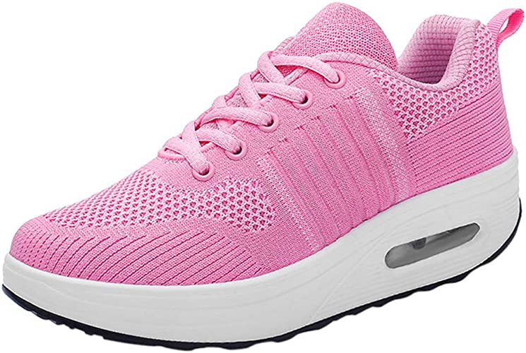 UK Women Lace Up Sport Running Walking Fitness Gym Trainers Buckle Sneaker Shoes