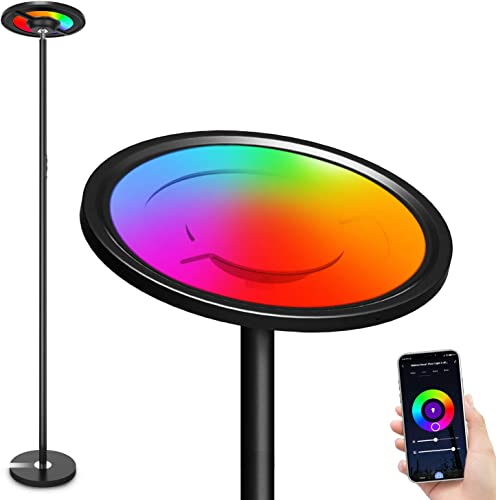 Makion Alexa WiFi LED Floor Lamp,1.7M/5.6Ft Tall Smart Lamp RGBW Modern Standing Lamp Work