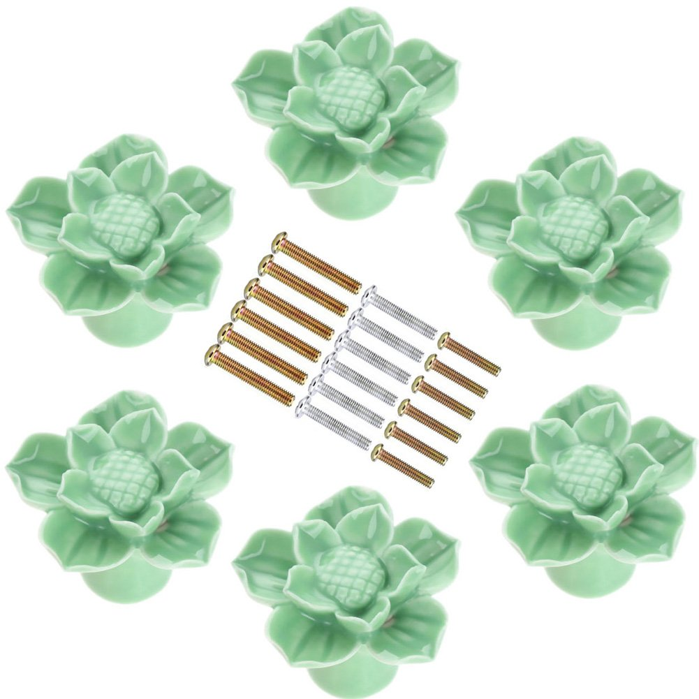 Corasays Green Flower Ceramic Drawer Cabinet Knobs and Pulls for DIY Home Furniture Cabinet Dresser Cupboard Bin Door Handles, Pack of 6