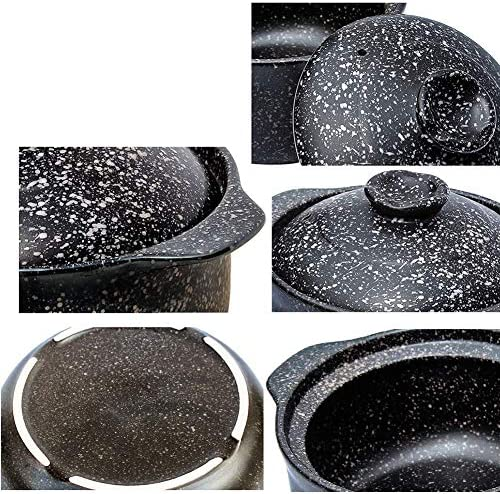 AMYZ Marmite antiadhésive,marmite à Soupe en Pierre de Maifan résistante à la Chaleur en céramique pour Casserole à Cuisson Lente Bibimbap Noir 2.1Quart