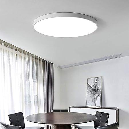 Qyyru Luz de Techo for baño, luz de Techo LED 18W Interior led Interior Exterior Circular Circular Incrustada Ultrafina Luminaria de mampara montada en la Pared con Ribete Blanco: Amazon.es: Hogar