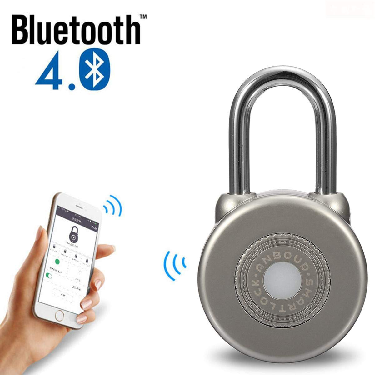 LAYOPO Fingerprint Padlock, Bluetooth Connection Smart Keyless Lock Anti-Theft Padlock iOS/Android APP Control Lock for House Door, Suitcase, Backpack, Gym, Bike, Office