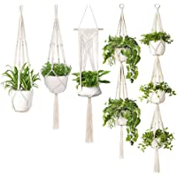 Macrame Plant Hangers, YanYoung Set of 5 Indoor Outdoor Hanging Planter, Different Tiers, Handmade Cotton Rope Flower…