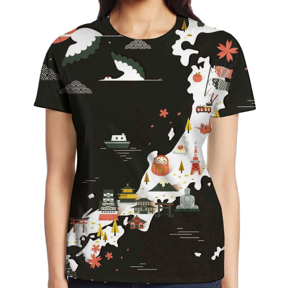 XIA WUEY Japan Map Womens Sport Graphic Tee Compression Tees by XIA WUEY