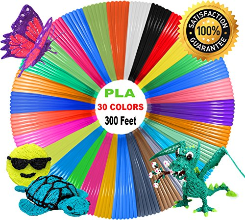 3D Pen Filament Refills 1.75mm PLA - 30 Vibrant Colors (300 Total Feet, 10 Feet Per Color) 5 Glow in the Dark Colors and more! for Dikale MYNT3D DigiHero Canbor Tecboss Soyan TIPEYE 3D Printing Pen