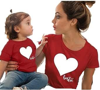 Wide.ling Regalo del día de la Madre Madre e Hija Ropa de Familia Camiseta con Estampado Love Top