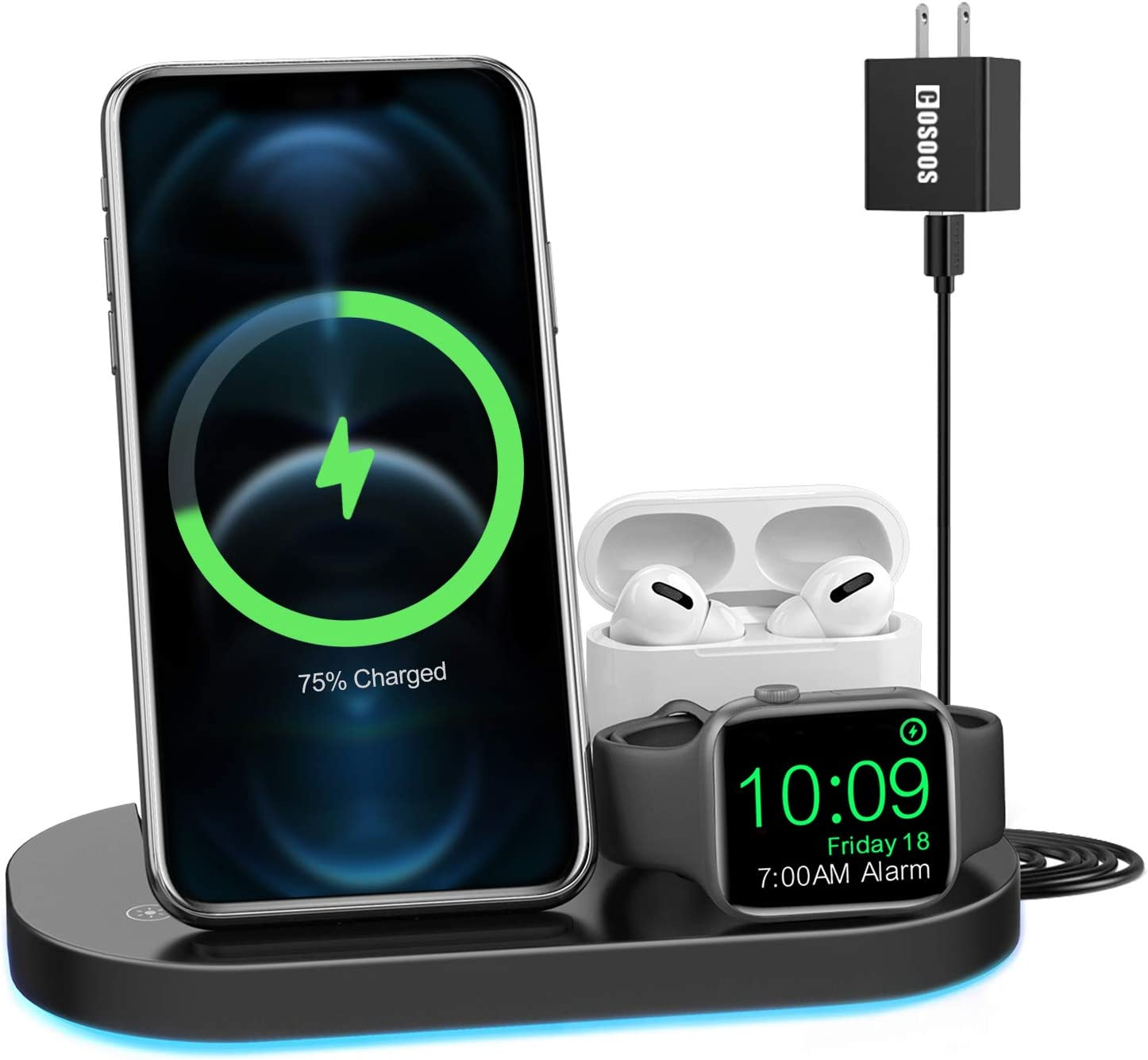 Wireless Charging Station, COSOOS Qi-Certified Fast Wireless Charger Stand Compatible with AirPods/AirPods Pro, iPhone 12/11 Series/XS Max/XS/XR/X/8/8 Plus(Adapter Included)