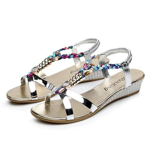 7786c3cbc0 Yesmile💋💝 Sandalias para Mujer Zapatos Casual de Mujer Sandalias de  Verano para Fiesta y Boda Sandalias Planas del Rhinestone Sandalias  Ocasionales ...