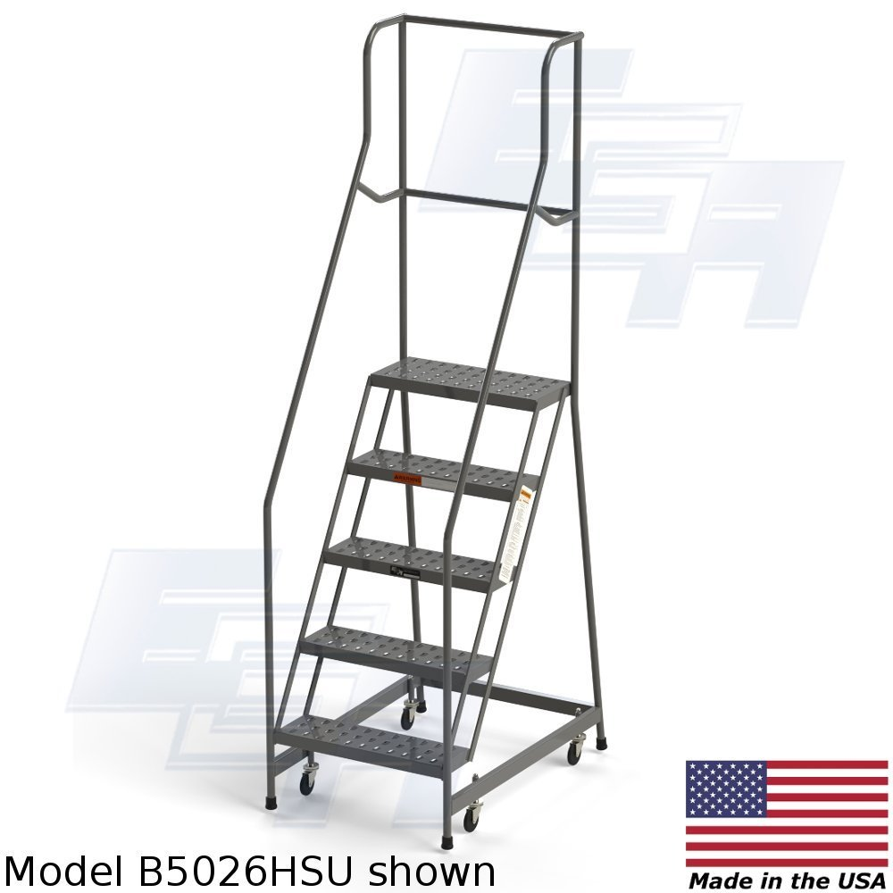 FULLY ASSEMBLED 5-step Steel Industrial Rolling Ladder, EGA B5026HSU, 24'' wide Perforated Tread, Grey, 450lb. Capacity
