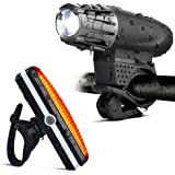 USB Rechargeable Bicycle Light Set, Waterproof Mountain Bicycle Headlight and Taillight Sets Super Bright Front Light and Rear Light for Cycling Safety