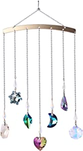 Crystal Ornament Wall Decor, Shining Colourful Crystal Pendants with Stainless Steel Chain Boho Home Decoration for Bedroom Living Room Apartment (Silver)