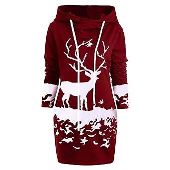 46f9645278ef Weihnachten Damen Hoodie Kleid Rovinci Frauen Bodycon Kapuzenpullover  Langarm Tunika Longshirt Kleider Midi Tops Pullover Kapuzenkleid