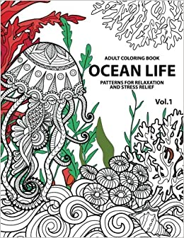 amazoncom 1 ocean life ocean coloring books for adults a blue dream adult coloring book designs sharks penguins crabs whales dolphins and much - Ocean Coloring Book