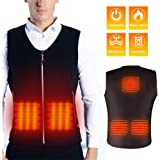 Maibtkey Heated Vest, Washable USB Charging Electric Heated Jacket for Men Women, 3 Stalls Adjustable Temperature, 5 Heating Pads, Suitable for Camping,Hiking,Hunting,Motorcycle (NO Power Bank)