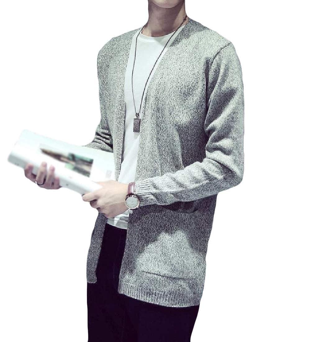 SportsX Men Long Sleeve Cardigan Solid Color Warm Knit Outwear Simple Sweater