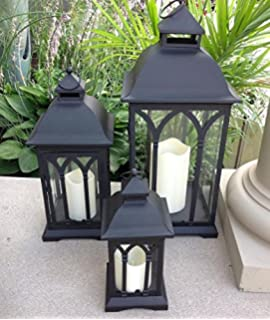 Amazon.com: Set of 3 Indoor or Outdoor Lombard Candle Lanterns ...