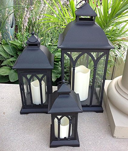 Set of 3 Indoor or Outdoor Lanterns with Candles (Black) -