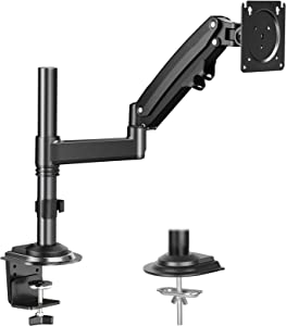 HUANUO Single Monitor Mount Stand for 17-35'' Computer Screen- Gas Spring Height Adjustable Monitor Arm VESA Bracket Desk Mount with C Clamp Grommet Mounting Base, Hold 4.4 to 26.5 lbs