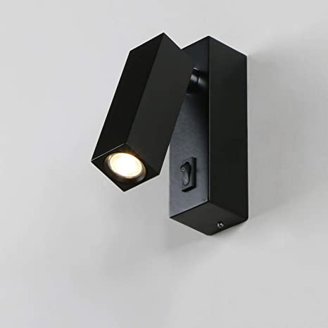 official photos 7d217 a2a3e Pathson Modern Bedside Wall Light, Bedroom Wall Lamp Adjustable Arm LED  Reading Light with Switch (Black)
