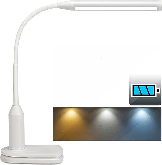 [2 en 1] LED lampe de bureau et lampe pince, USB rechargeable lampe lecture 3 Couleurs de lumières, n'niveaux de luminosité, tactile sans fil et
