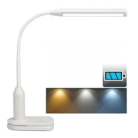Lámpara de mesa LED y luz de clip, batería recargable de 2000 mAh, brillo ajustable continuo, flexibilidad de 360 grados y control táctil, luz de ...