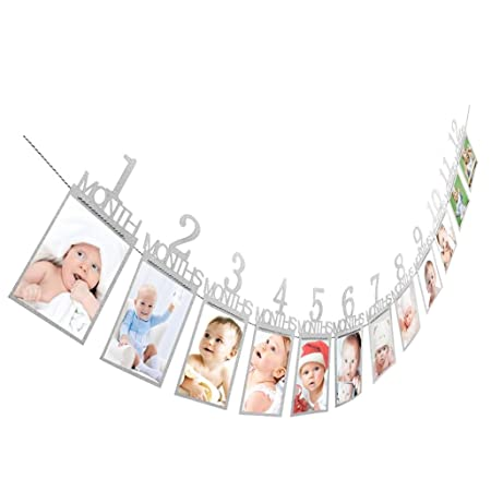 Diadia - Cartel de cumpleaños con purpurina para decoración mensual de cumpleaños para recién nacido hasta 12 meses Guirnalda para fotografía con ...
