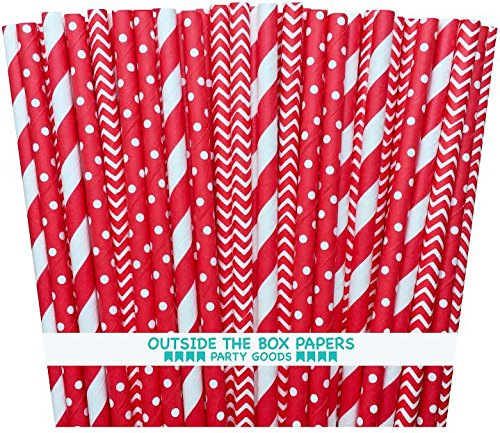Outside the Box Papers Red Stripe, Chevron and Polka Dot Paper Straws 7.75 Inches 75 Pack Red, White